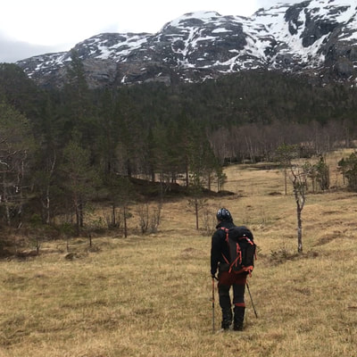 active hiking in the northern mountains in Scandinavia