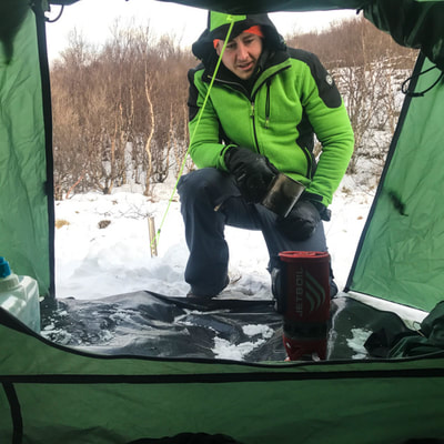 workshop camping in winter in northern Europe